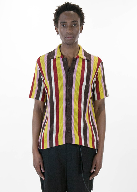 CMMN SWDN Wes Knitted Striped Shirt