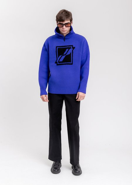 we11done Square Logo Pile Knit Jumper sweater -  Blue