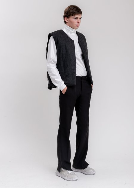 we11done Padded Flannel Vest - Charcoal
