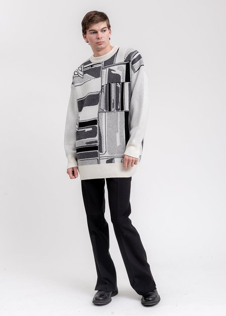 we11done Flat Chain Graphic Jacquard Sweater - Ivory