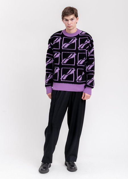 we11done Square Logo All Over Pile Knit Jumper sweater - Purple