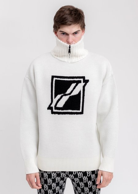 we11done Square Logo Pile Knit Jumper sweater - White