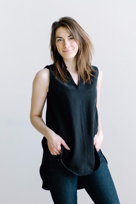 Hackwith Design House Mandarin Collar Tunic - Black Tencel