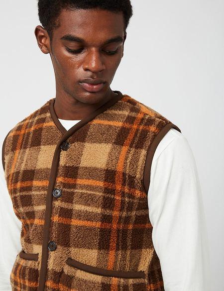 Universal Works Check Sherpa Fleece Lancaster Gilet - Brown