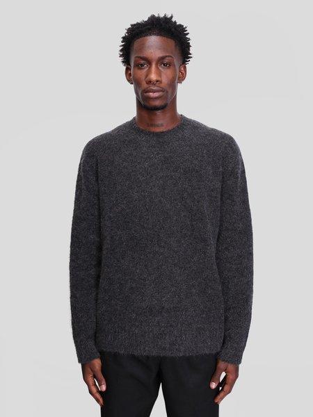 Schnayderman's Crewneck Seamless Mohair Sweater - Black Melange