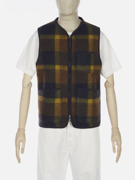 Universal Works Plaid Fleece Zip Gilet - Navy/Yellow