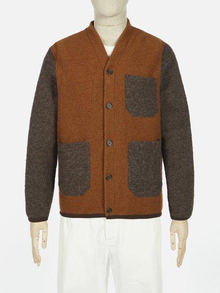 Universal Works Wool Fleece Contrast Cardigan - Rust