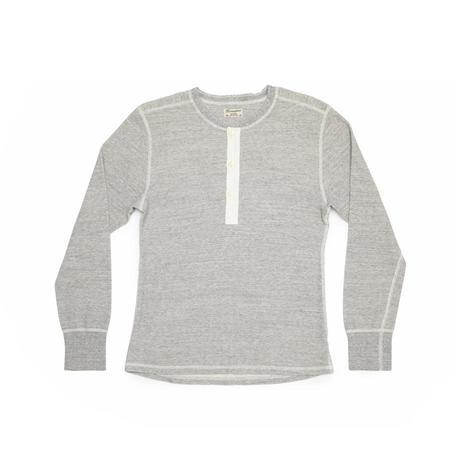 Homespun Knitwear Coalminer Long Sleeve Henley Mil Spec Thermal - Grey