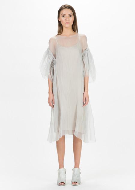 Louiza Babouryan Sheer Blossom Sleeve Dress with Slip