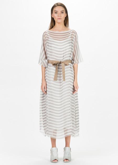Louiza Babouryan Sheer Stripe Dress with Slip