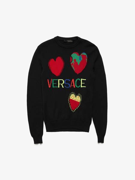 [Pre-Loved] Versace M I Love Versace Black Wool Sweater-BLACK