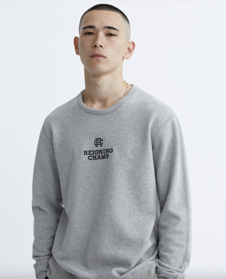 Reigning Champ Mens Mid Weight Terry Lock Up Relaxed Fit SWEATER - heather grey