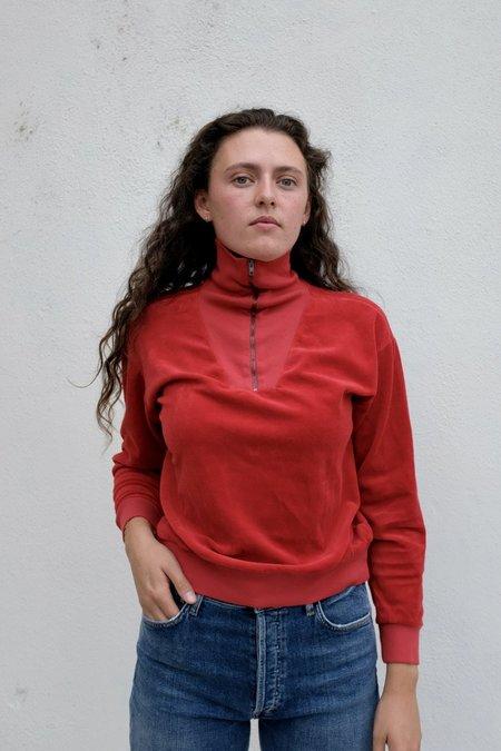 Velour Half-Zip Cropped Pullover - Brick