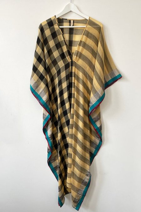 Two New York Plaid Butter Caftan - butter yellow/black