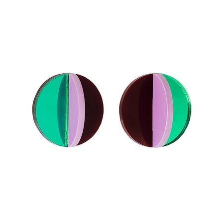 Pamela Coromoto Dexel Mini earrings - Green Mirror/Pink/Burgundy