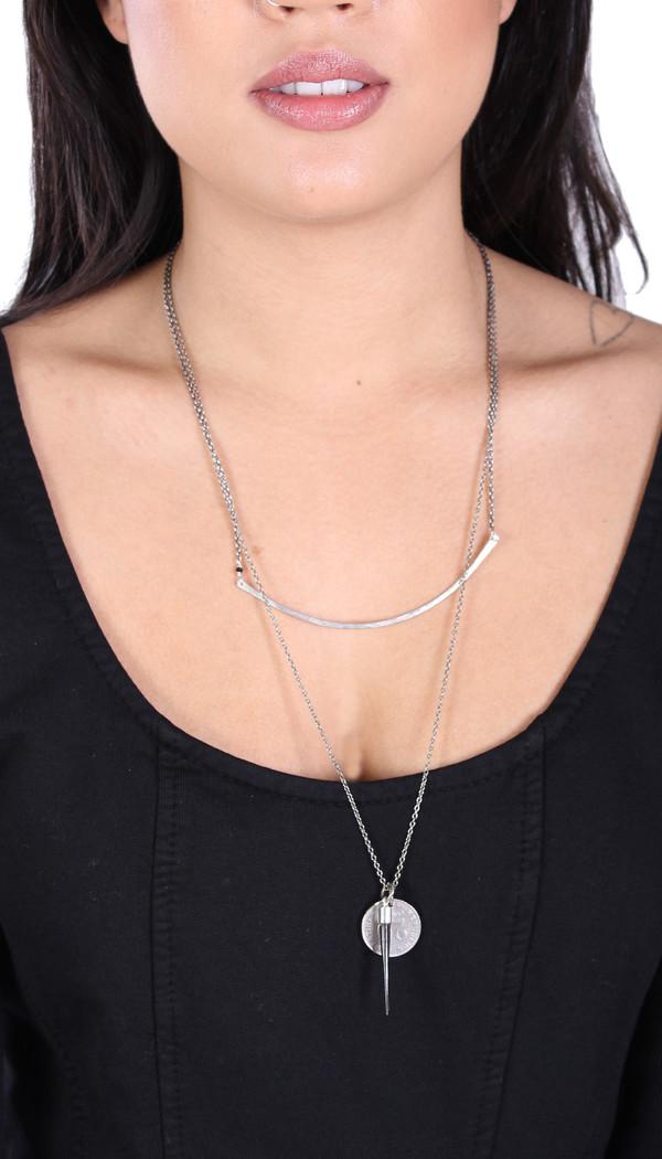 Sarah Dunn Sterling Silver Bar Circle Necklace