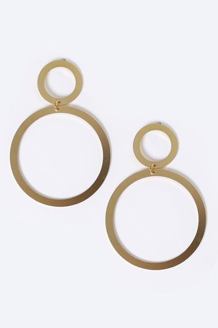 Modern Weaving Thin Donut Stack Earrings in Brass