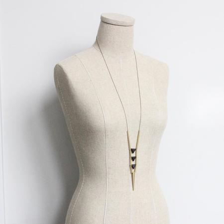 David Aubrey Inc Brass and Lava Stone Triangles Necklace