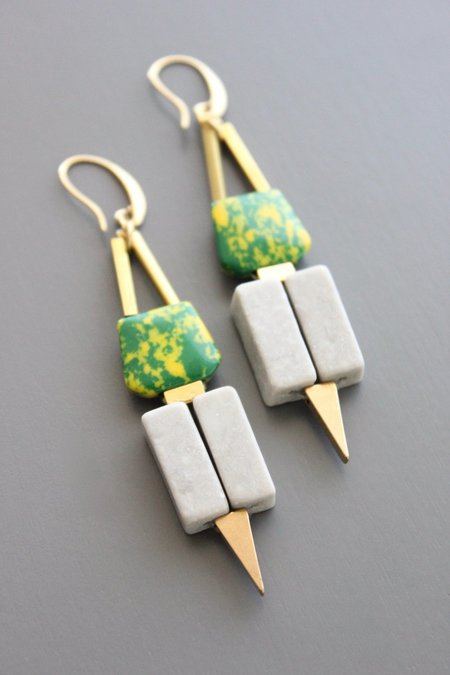 David Aubrey Inc Dyed Jade and Marble Hook Earrings - 18K Gold Plated