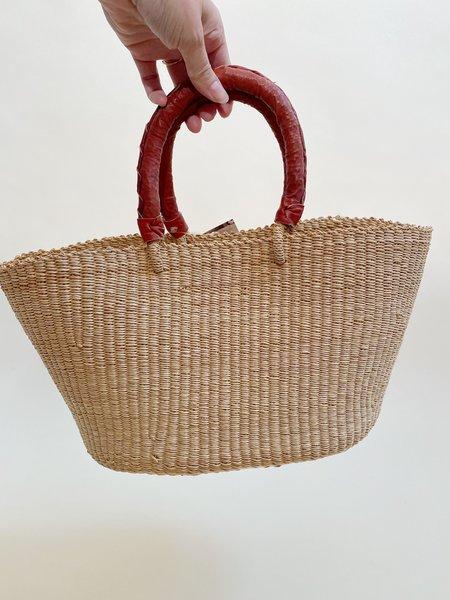 Swahili Modern Full Leather Handles Tote - Natural
