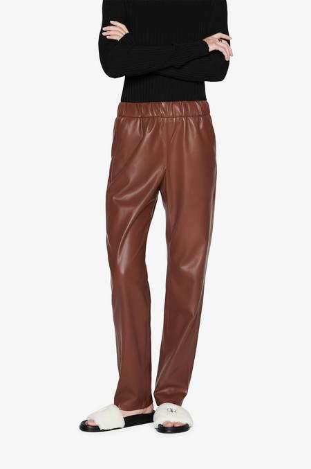 Anine Bing Colton Track Pant - Vegan Leather Brown