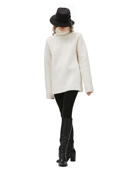 Y's Wool white stitching hat - black