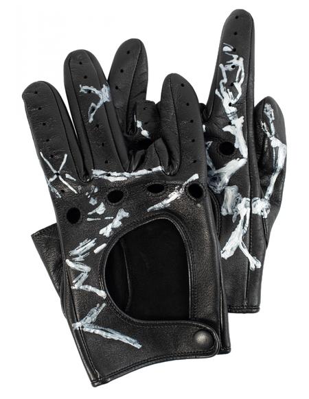 Yohji Yamamoto leather finger cut gloves - Black