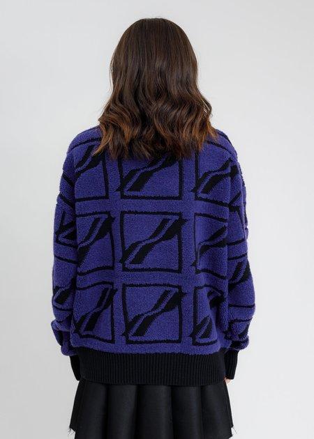 we11done Square Logo All Over Pile Knit Jumper - Blue