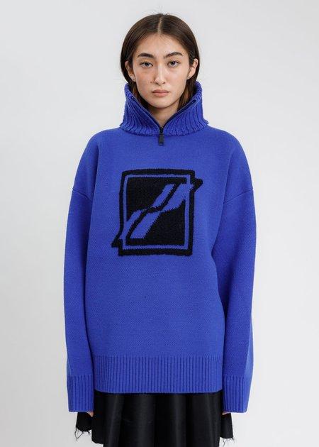 we11done Square Logo Pile Knit Jumper - Blue