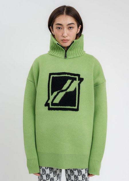 we11done Square Logo Pile Knit Jumper - Green