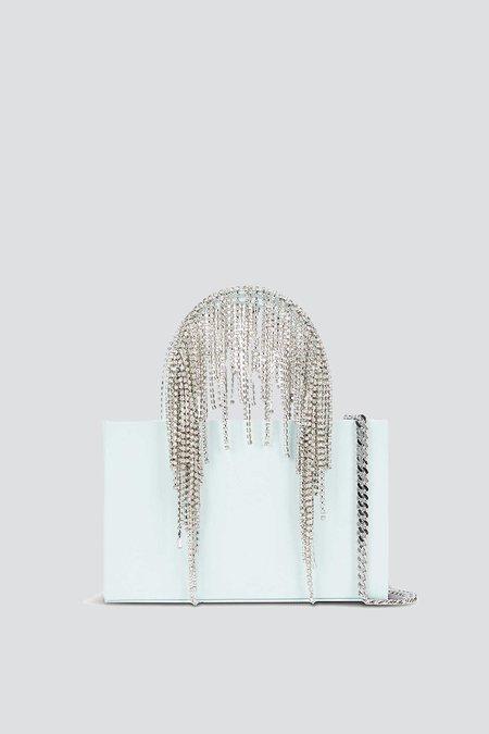 KARA Glass Midi Crystal Fringe Tote - Blue