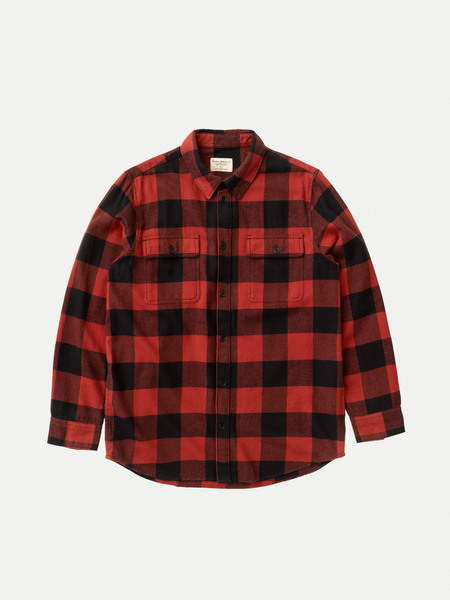 Nudie Jeans Gabriel Buffalo Check top - Poppy Red