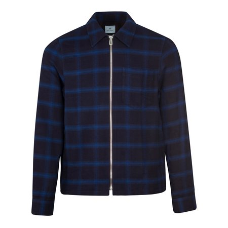 PS Paul Smith Check Zip Overshirt - Navy