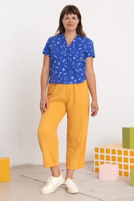North Of West Rizo Squiggles Print Blouse - Azure