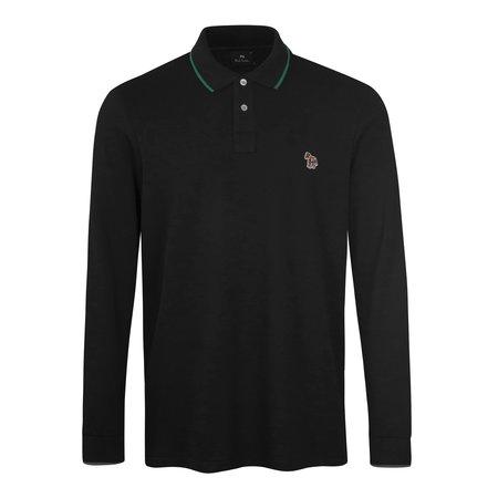 PS Paul Smith Zebra Reg Fit LS Polo Shirt - Black