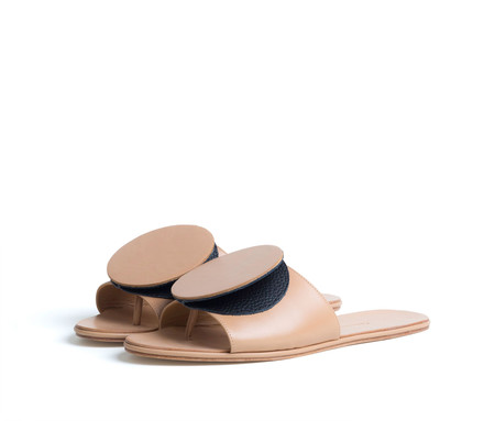 the palatines shoes caeleste slide sandal - tan smooth / black pebbled leather