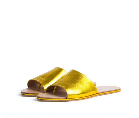 the palatines shoes caelum slide sandal - yellow metallic leather