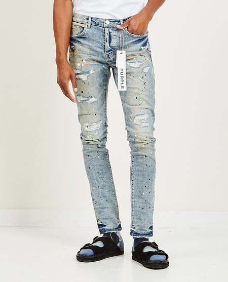 Purple Brand Slim Fit Jeans - Light Indigo Paint Repair