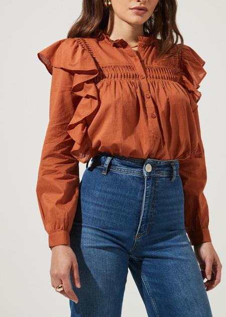 Astr the Label Fawn Ruffle Button Down Long Sleeve Top