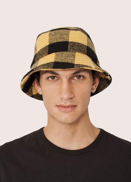 YMC Men's Wool Blend Check Bucket Hat - Black Yellow