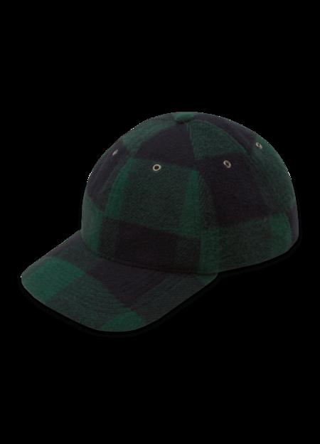 YMC Women's Wool Blend Check Baseball Cap - Blue Green