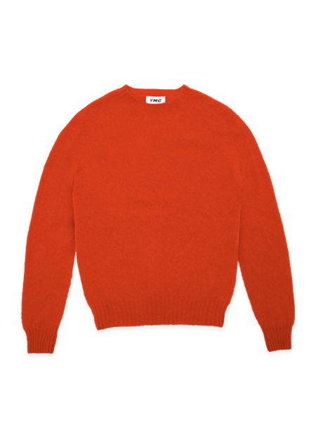YMC Suedehead Brushed Lambswool Crew Neck Knitted Jumper - Red