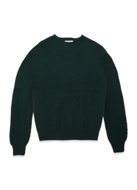 YMC Suedehead Brushed Lambswool Crew Neck Knitted Jumper - Green