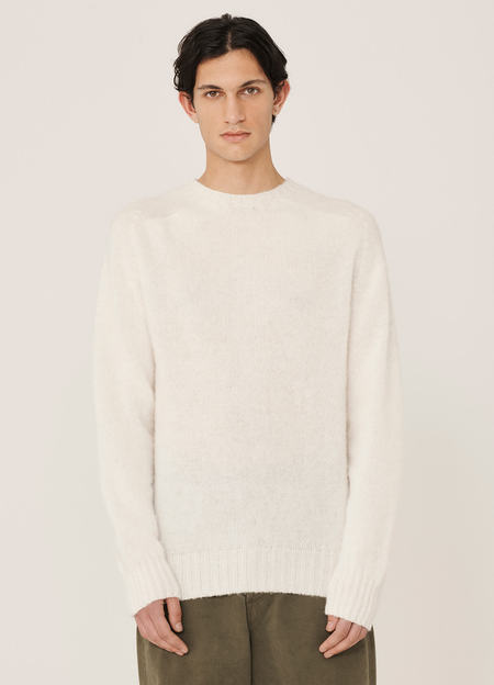 YMC Suedehead Brushed Lambswool Crew Neck Knitted Jumper - White