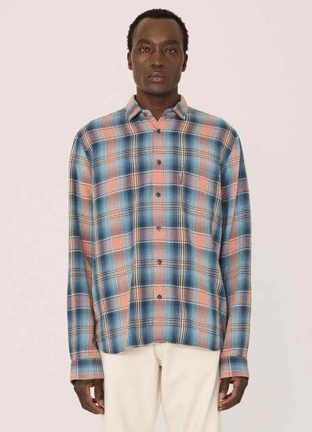 YMC Curtis Cotton Fade Shadow Check Shirt -  Blue Orange