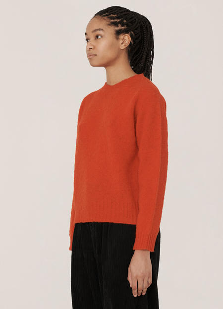 YMC Jets Brushed Lambswool Crew Knitted Jumper - Red