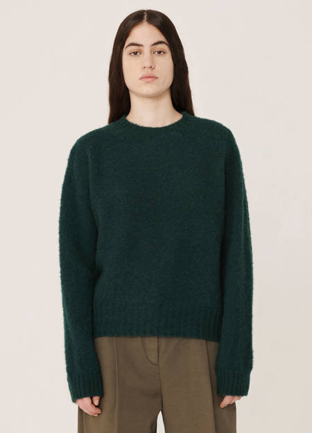 YMC Jets Brushed Lambswool Crew Knitted Jumper - Green