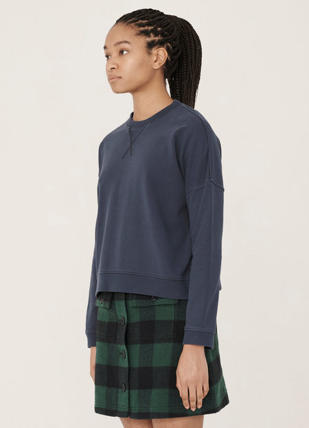 YMC Almost Grown Cotton Loopback Sweatshirt - Navy