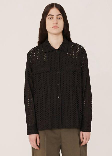 YMC Vegas Flower Broderie Anglaise Shirt - Black