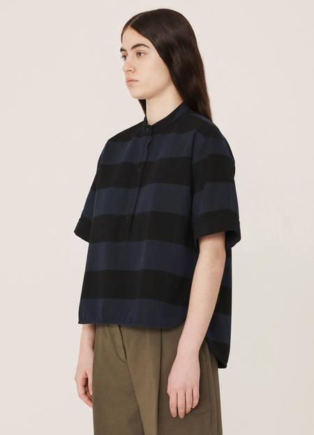 YMC Manon Cotton Stripe Shirt - Navy Black